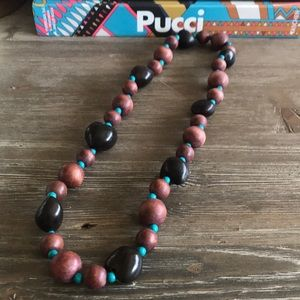 Nordstrom Beaded Wood and Turquoise Necklace
